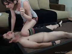 Sexy and slutty hussy facesitting her slave