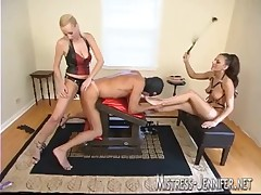 Two horny misss practicing hard fucking using strapon