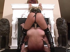 Sexy milf was fucking slave with strapon