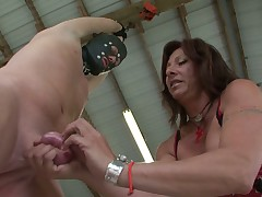 Painful and humiliating wank off for slave