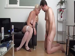 Wide opened loser's butthole for different sex toys