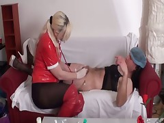 Seductive but kinky nurse giving extreme med exam