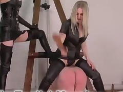 Slave is suffering from hard flogging from domina