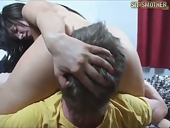 Slave guy was made licking her twat