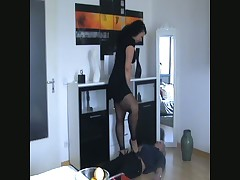 Lady likes to trample her subby hard