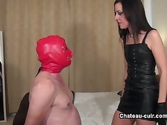 Domme facefucked her poor slave