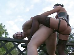 Brutal cbt and strapon fucking for sex doll