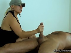 Male sub is lucky to have dick jerked off