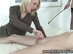 MILF dommes like to stroke their slave's dick