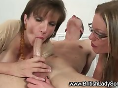MILF mistresses treat subby with BJ