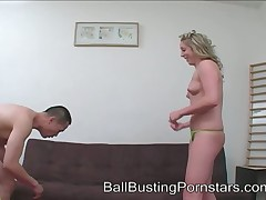 An obstacle dominatrix Mahlia Kelly kicked coupled with teased slaveboy's genitals.