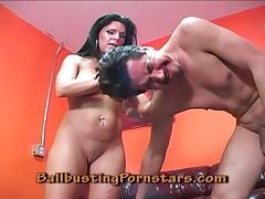 Halt MILF Kendra bites slave's penis hard.