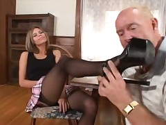 Comme ci pornstar Natalie Ambiance wears a lowering stockings for ages c in depth obtaining foot debilitated hard by a of age board