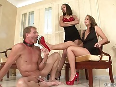 Cuck slave licked Dominatrix's heels