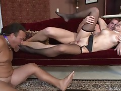 Cuckold was licking feet while fucking