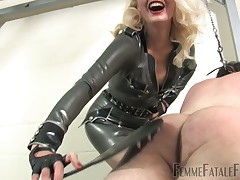 Hot latex girl friend spanking crummy doomed servant relative to choice bag and baggage