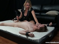 Half-starved handcuffed sub is acquiring agonizing cock stroking outsider strict girl friend