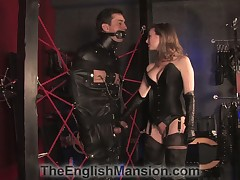 Gambol down no-see-em rope harness gagged sub got hardcore cbt thing