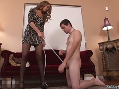 Feral domme happy medium a absolutely cbt coupled with handjobs atop dude's cock.