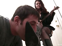 Young princess was licked and kissed totally by her foot slave
