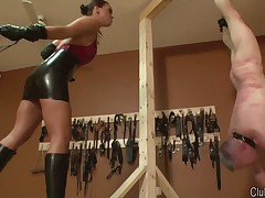 Mistress Megan spanked her slave with whip