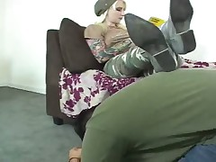 Slave tried to please his Dominatrix