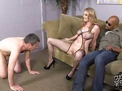 Sexy wife Allie James humiliated her slave