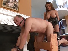 Hardcore starpon punishment for submissive dude