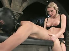 Bondage slave is getting whipped and fucked by mistress