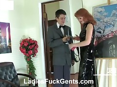 Submissive dude having his ass drilled by mistress Irene