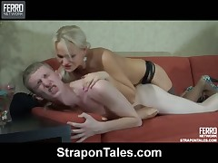 Slave Connor got a strapon into his ass from Dominatrix