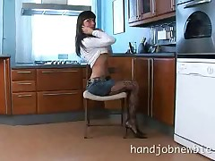 Sweet Jenis spreading legs and giving hardcore handjob