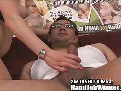 Lovely beauty Syren Sexton tries her first cock stroking
