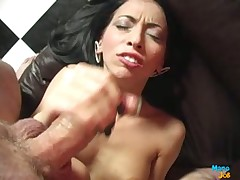 Nice Asian hottie stroking cock till dirty cumshot