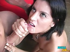 Fabulous fuckable MILF gives most assuredly heavy heavy weasel words hand gig