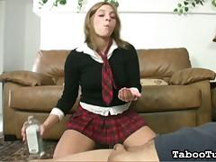 Horny cutie gives extra hard and very pleasing handjob