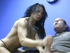 Muscled throbbing dick gets stroking stimulation for hardcore orgasming