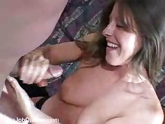 Horny kinky mom stroking strange cock for cash