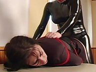 Dominant Rose pounds luscious Moxxie with a strap on cock