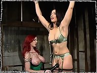 January submits to Lezdom Mz. Berlin - bondage, cock sucking, strap-on sex
