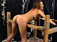 After her ass is beaten, the slave turns the tables on her mistress and flogs her ass too