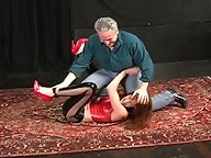 Maria is not strong enough to withstand a real hogtie takedown
