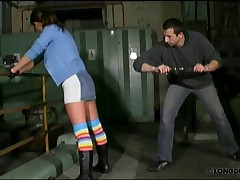 Angie was spanked hard in the dark factory at night.