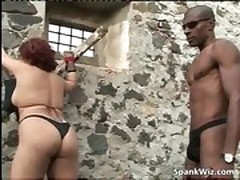 Tied redhead slut gets butt spanked