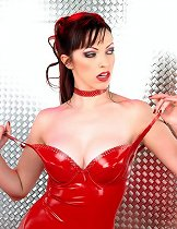 Babe in red latex