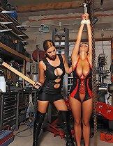 Horny lesbian babes Carol & bound Jannete spanking in latex