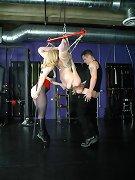 Master and mistress fucking bound slavegirl