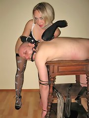 Blonde mistress and slave-furniture