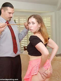 12 of Lilian White bends over to have her bottom striped with 12 strokes of the cane