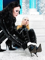 Latex mistress and slave